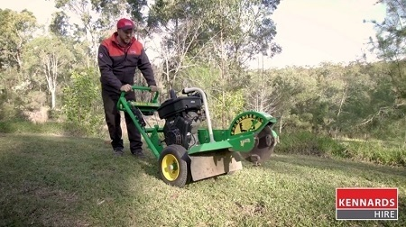 Adjust the handle of the stump grinder so it is comfortable when at working height.