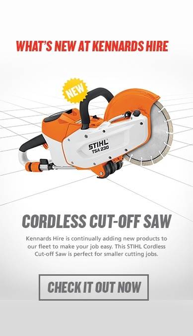 Whats new at Kennards Hire - Cordless cut off saw